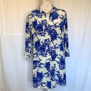 Piperlime // Blue, White Floral Shirt Dress M